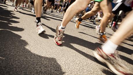 Beine von Läufern.